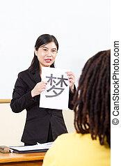 ensinando, chinês, professor, língua