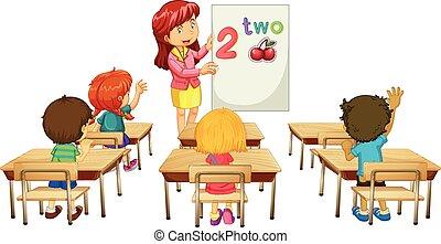ensinando, classe, crianças, matemática, professor