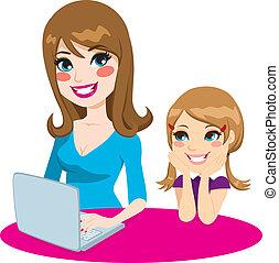 ensinando, filha, mãe