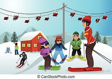 ensinando, instrutor, esqui, crianças