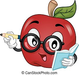 ensinando, mascote, óculos, maçã, escrita