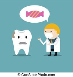 ensinando, odontólogo, doutor