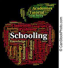 ensinando, palavra, mostra, estudo, escolas, e, educação