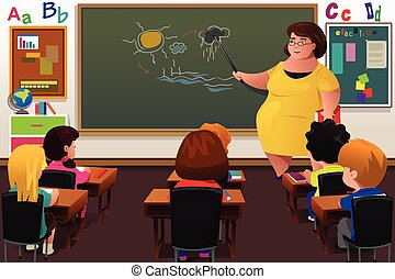 ensinando, professor, sala aula