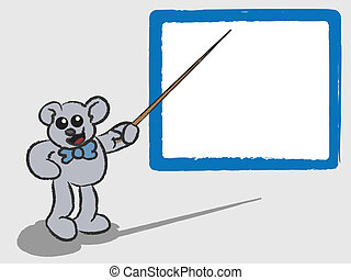 ensinando, whiteboard, urso