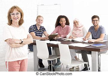 ensinar, estrangeiro, missão, dela, pessoas