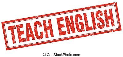 ensinar, inglês, quadrado, selo