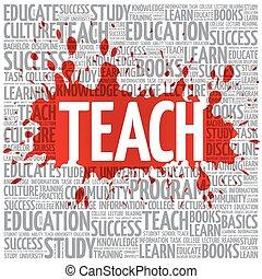 ensinar, palavra, nuvem, educação, conceito