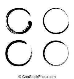 Enso Zen Brush Strokes Black Ink Vector Set Illustrations...