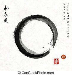 Enso zen circle on vintage rice paper. Black circle hand-...