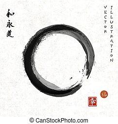 enso, zen, papel, arroz, círculo, vindima