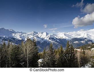 ensolarado, alpes francês, montanha, neve, vista, em, arcos les, frança