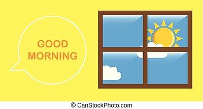 ensolarado, bom, céu, manhã