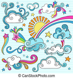 ensolarado, céu, nuvens, caderno, doodles