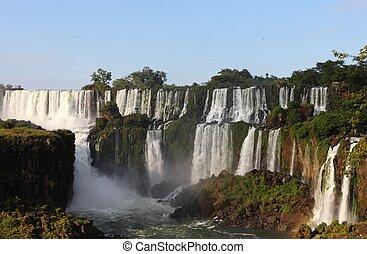 ensolarado, cedo, iguassu, cachoeiras, maior, earth., dia, morning.