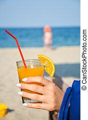 ensolarado, férias, suco, laranja, fresco, praia