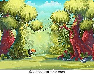 ensolarado, ilustração, manhã, tucano, selva, pássaro
