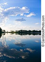 ensolarado, lago, dia