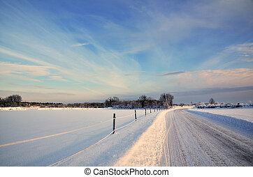 ensolarado, paisagem inverno