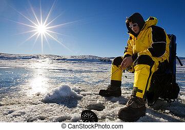 ensolarado, pesca, gelo