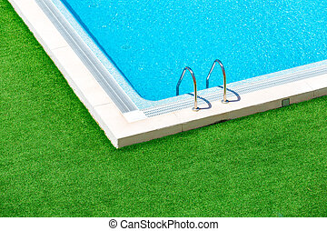 ensolarado, piscina, reflexões, hotel