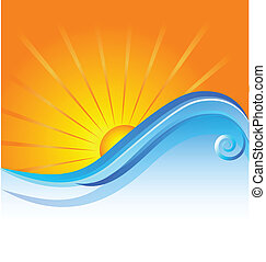 ensolarado, praia, modelo, logotipo