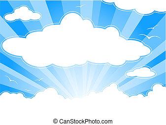 ensolarado, raios sol, nuvens, céu
