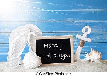 ensolarado, verão, cartão, com, texto, feliz, feriados