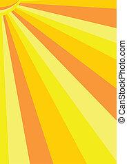ensolarado, vetorial, fundo, em, amarela, e, laranja