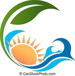 ensolarado, vida, verde, mar