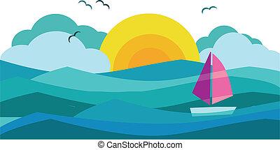 ensolarado, vista, de, oceânicos, com, iate veleiro, 3