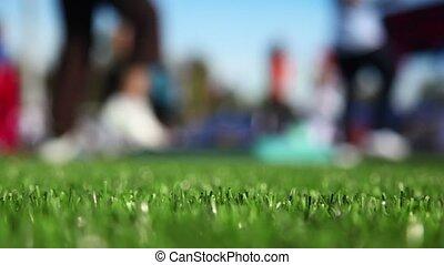 ensoleillé, automne, masse, stade, fitness, jour