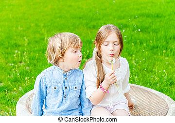 ensoleillé, avoir, dehors, amusement, adorable, enfants, jour, gentil