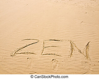 ensoleillé, encombrements, zen, écrit, sable, jour