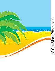 ensoleillé, feuilles paume, plage
