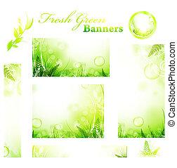 ensoleillé, frais, bannières, vert