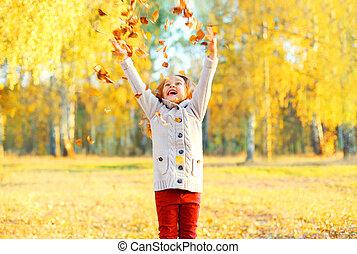 ensoleillé, jaune, jouer, automne, pousse feuilles, enfant, amusement, avoir, jour, heureux