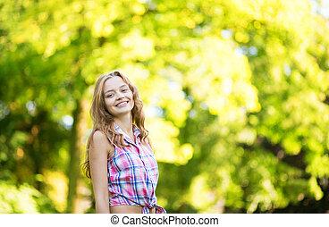 ensoleillé, jeune, chaud, automne, girl, jour, heureux