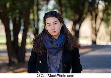 ensoleillé, jeune, park., asiatique, étudiant, jour