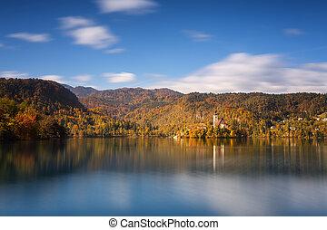 ensoleillé, lac, slovénie, clair, saigné, diminuez jour