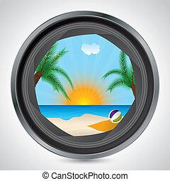 ensoleillé, lentille, appareil photo, par, vu, plage