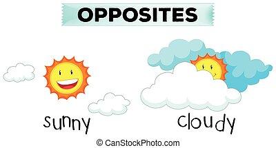 ensoleillé, mots, nuageux, opposé