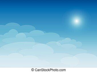 ensoleillé, nuages, jour, ciel