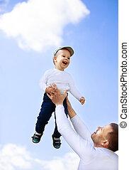 ensoleillé, père, promenade, fils, jour, heureux