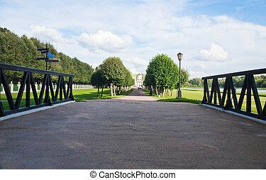 ensoleillé, parc, jour, ruelle