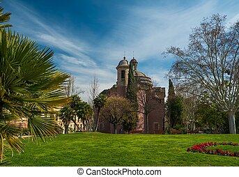 ensoleillé, parc, vieux, jour, église