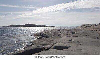 ensoleillé, paysage, jour, scène tranquille, moule, falaise