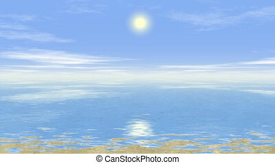 ensoleillé, paysage, mer