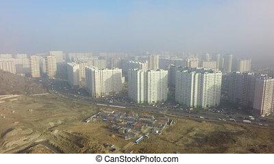 ensoleillé, paysage, secteur, résidentiel, interminable
