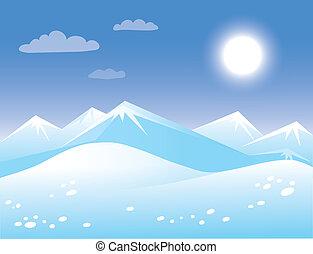 ensoleillé, printemps, arctique, paysage.